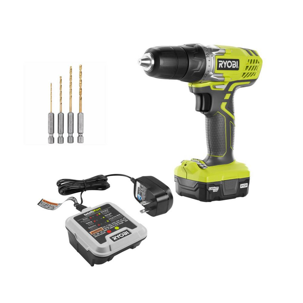 RYOBI RYOBI 12-Volt Lithium-Ion Cordless 3/8 in. Drill Kit with Battery, Charger, and 4-Piece Accessories