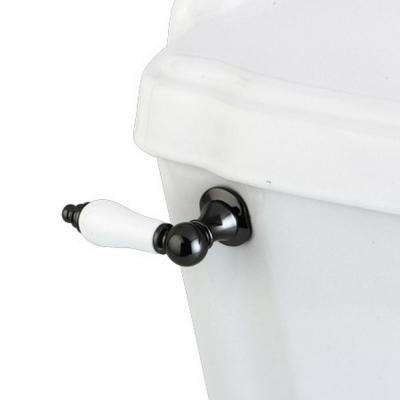 Porcelain Toilet Tank Lever in Black Stainless Steel
