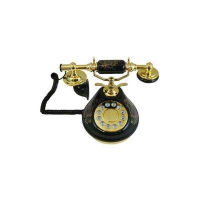 Porcelain Corded Phone - Black