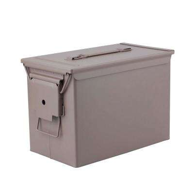 Military Grade Heavy-Duty 0.50 Cal Metal Tactical Ammo Storage Box in Tan