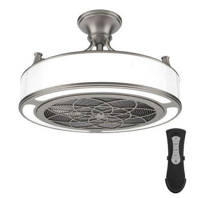Small room ceiling fans lighting the home depot led indooroutdoor brushed nickel ceiling fan with remote control aloadofball Gallery