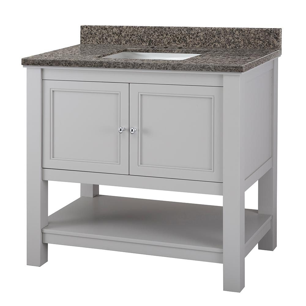 Home Decorators Collection Gazette 37 in. W x 22 in. D Vanity in Grey with Granite Vanity Top in Sircolo with White Sink was $899.0 now $629.3 (30.0% off)