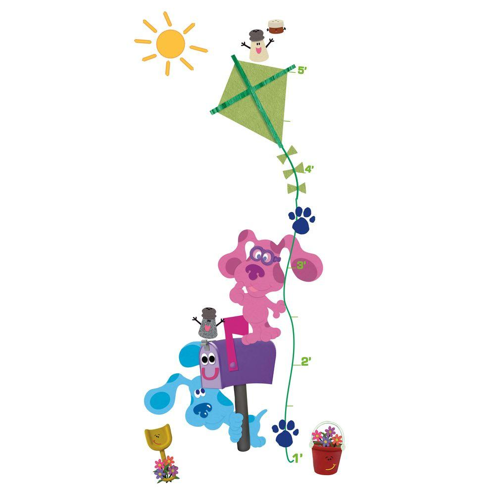 null 18 in. x 40 in. Blue's Clues 23-Piece Peel and Stick Growth Chart Wall Decals-DISCONTINUED