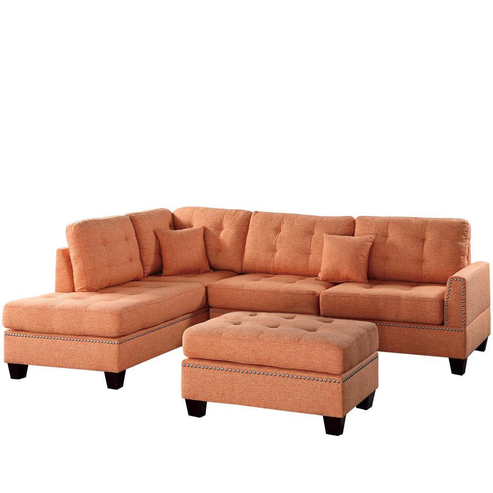 Venetian worldwide barcelona 3 piece sectional sofa in for Barcelona sectional sofa ottoman