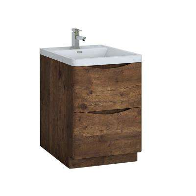 Tuscany 24 in. Modern Bath Vanity in Rosewood with Vanity Top in White with White Basin
