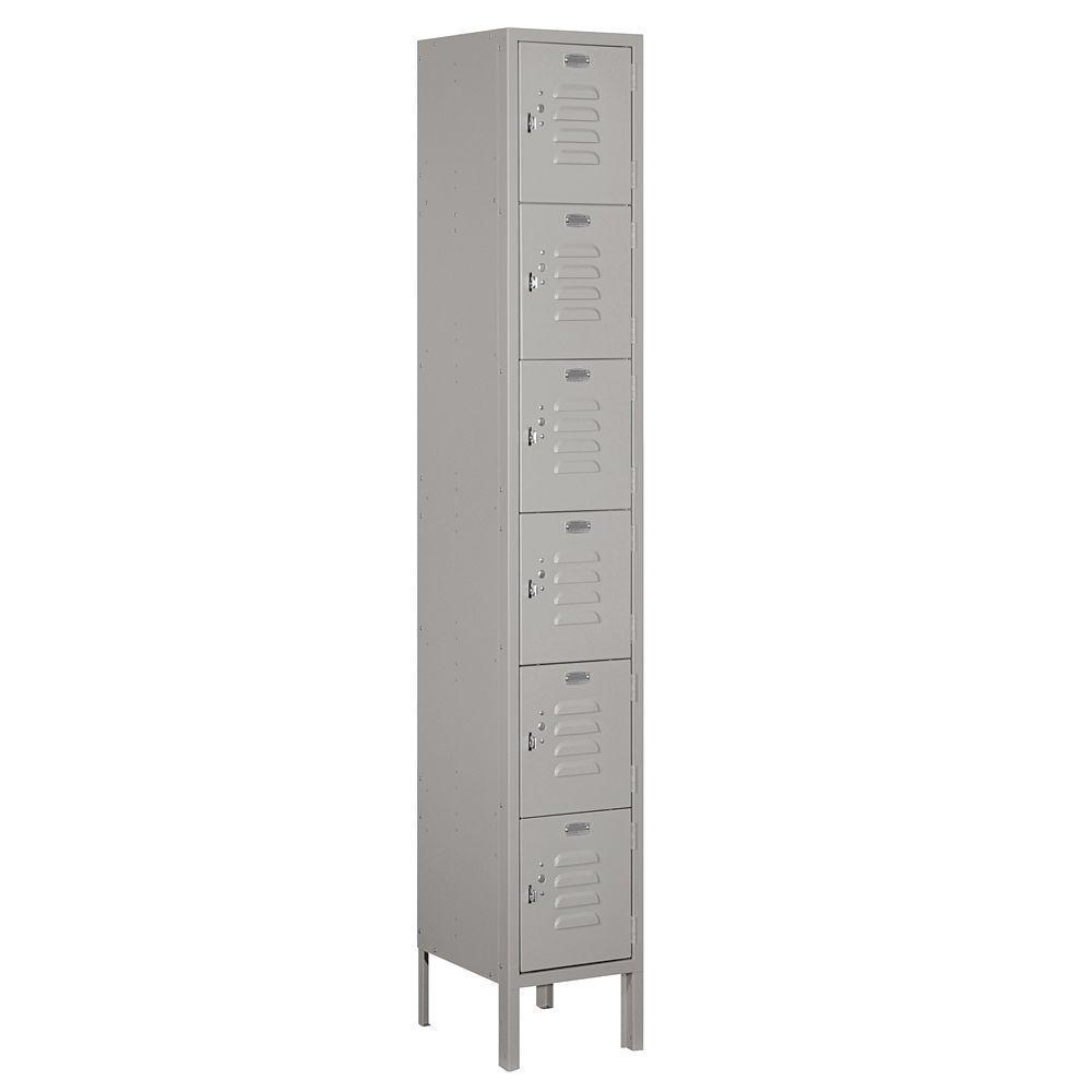 66000 Series 12 in. W x 78 in. H x 12 in. D 6-Tier Box Style Metal Locker Unassembled in Gray