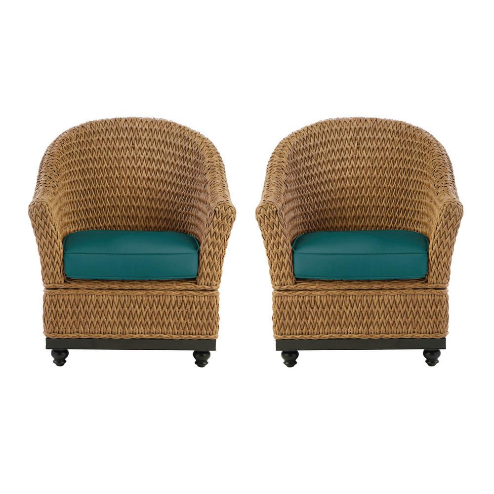 Home Decorators Collection Camden Light Brown Seagrass Wicker Outdoor Porch Lounge Chair with Sunbrella Peacock Blue-Green Cushions (2-Pack) was $599.0 now $479.0 (20.0% off)