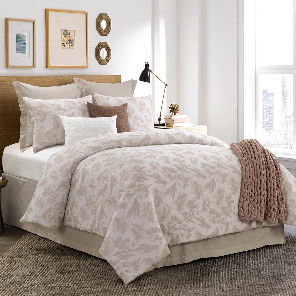 Almaria 3-Piece Blush Cotton Queen Comforter Set