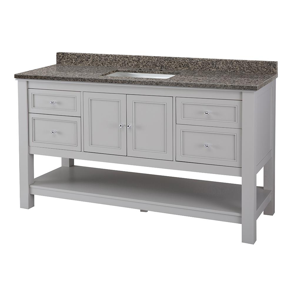 Home Decorators Collection Gazette 61 in. W x 22 in. D Vanity in Grey with Granite Vanity Top in Sircolo with White Sink was $1599.0 now $1119.3 (30.0% off)