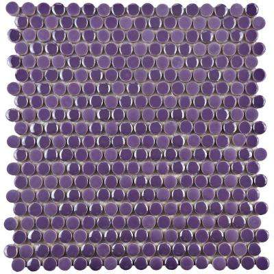 Galaxy Penny Round Purple 11-1/4 in. x 11-3/4 in. x 9 mm Porcelain Mosaic Tile