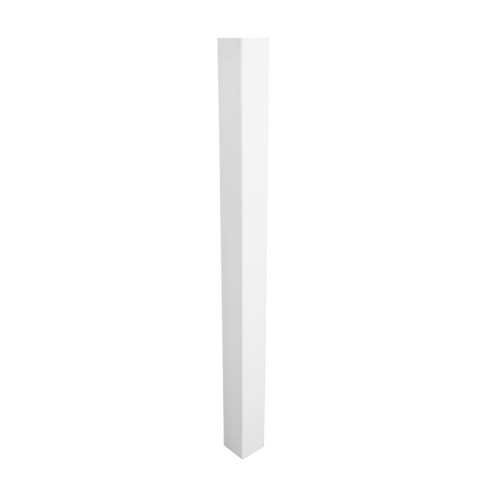 Weatherables 4 in. x 4 in. x 8.75 ft. White Vinyl Fence Blank Post