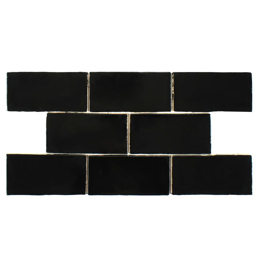 Merola Tile Chester Nero 3 in. x 6 in. Ceramic Wall Tile (1 sq. ft. / pack)