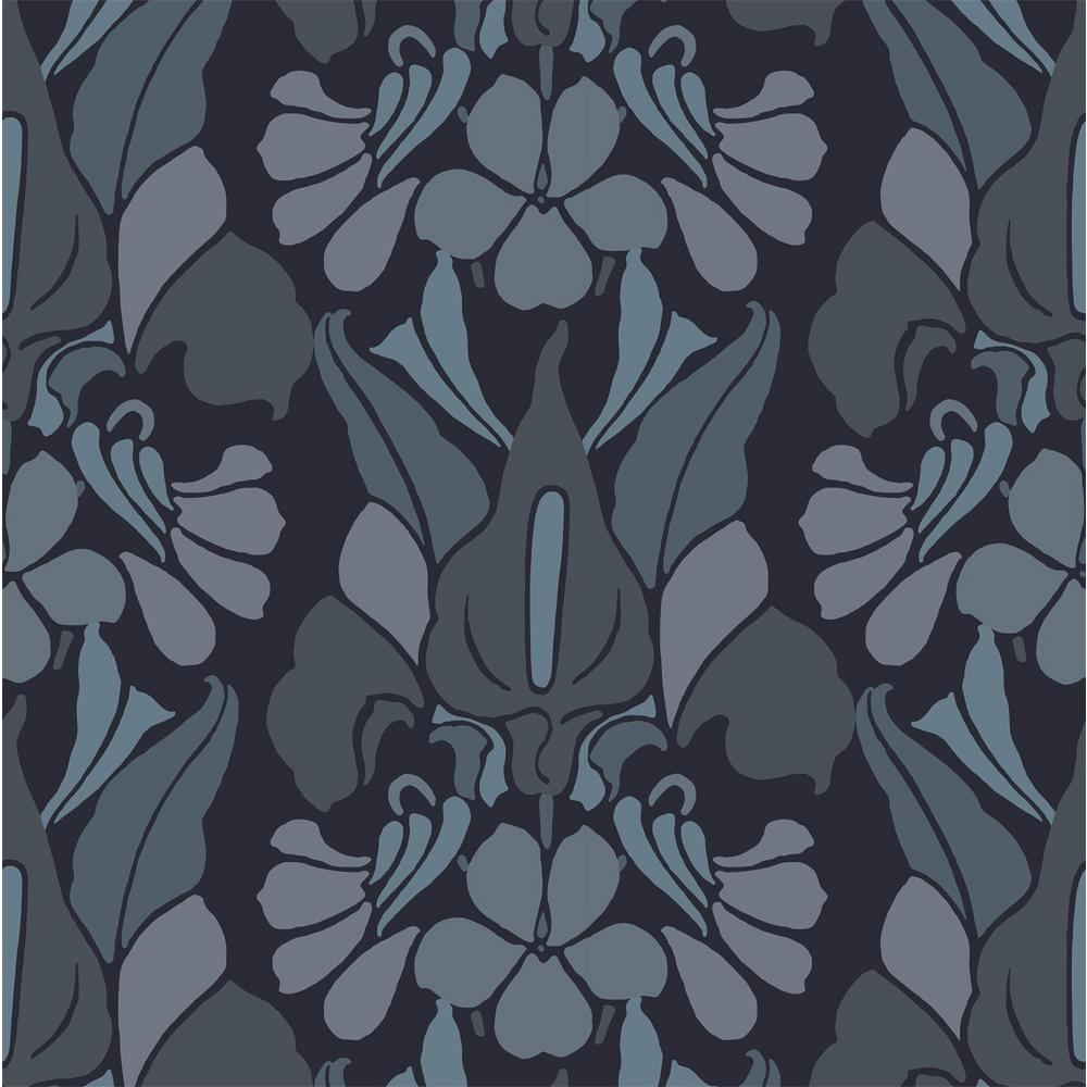 Debut Collection Dragon Flower in Grey/Blue Premium Matte Wallpaper