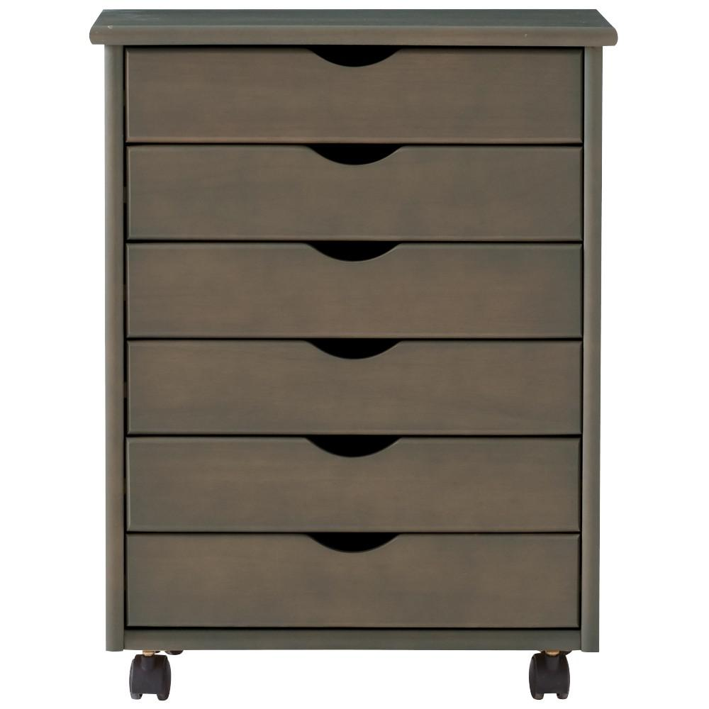 Home Decorators Collection Stanton Wide  Drawer Storage Cart In Antique Grey