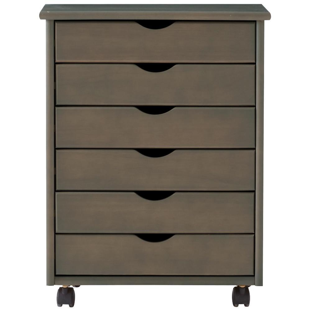 Stanton Wide 6-Drawer Storage Cart in Antique Grey