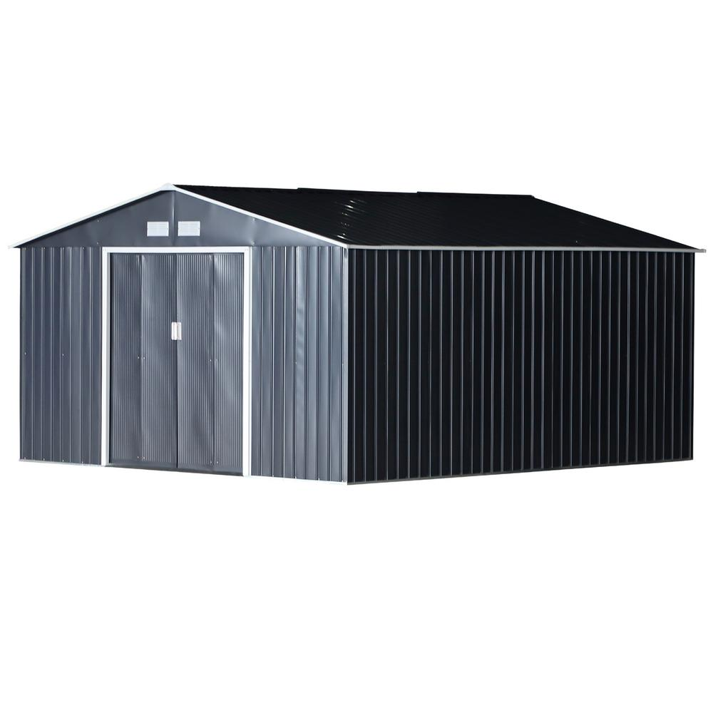Outsunny 11 ft. x 12.5 ft. Metal Garden Shed Utility Tool Storage for Backyard and Garden with Sloped Roof and Air Ventilation