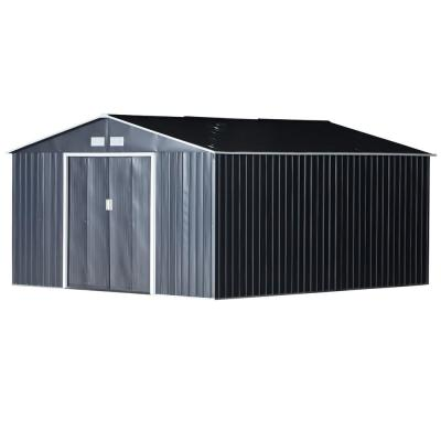 11 ft. x 12.5 ft. Metal Garden Shed Utility Tool Storage for Backyard and Garden with Sloped Roof and Air Ventilation