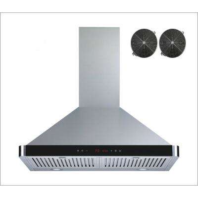 30 in. Convertible Wall Mount Range Hood in Stainless Steel with Baffle Filters Touch Control and Carbon Filters