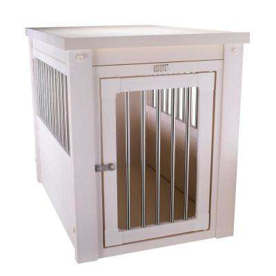 Indoor Pet Furniture with Chew Resistant Stainless Steel Grills in White Antique- Small