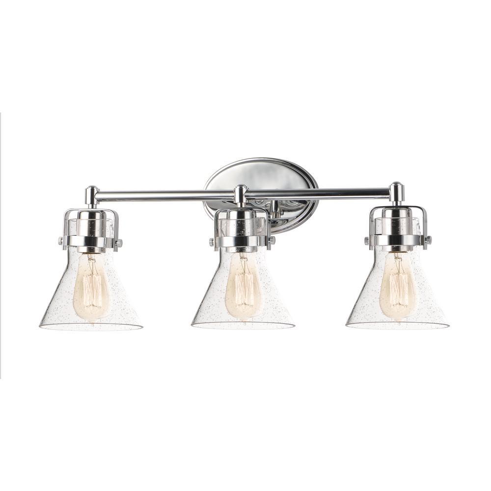 Seafarer 3-Light Polished Chrome Vanity Light with Bulbs