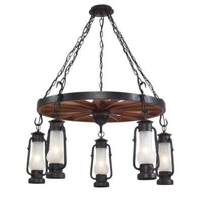 Chapman 5-Light Matte Black Chandelier With Acid Etched Glass Shades