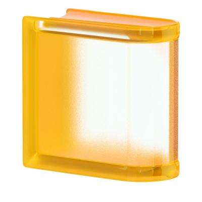 Apricot 5.75 in. x 5.75 in. x 3.15 in. Classic Yellow End Linear Glass Block