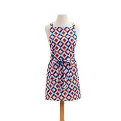 Diamond Modern Print Cotton Butcher's Apron, Red and Blue