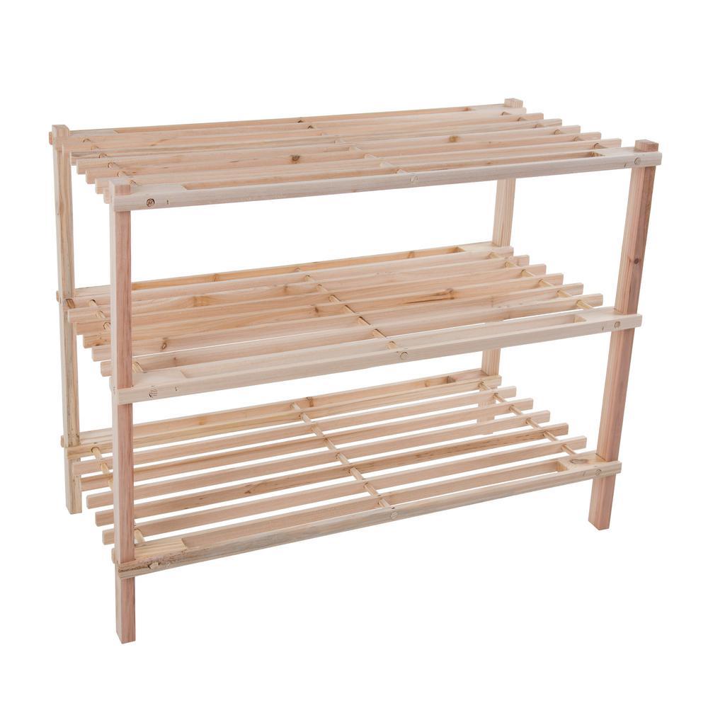 9-Pair 3-Tier Wooden Shoe Organizer Rack