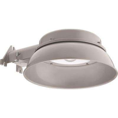 OVAL Gray Outdoor Natural Metal Integrated LED 4000K Area Light with Dusk to Dawn Photocell