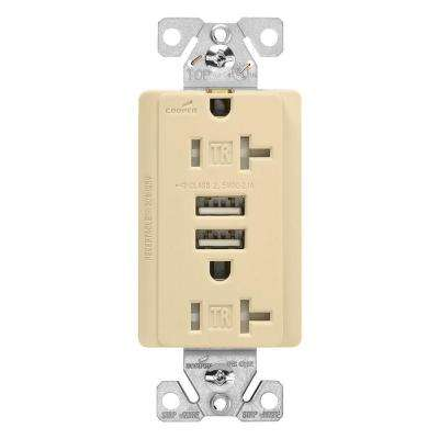 20 Amp 125-Volt Combination Outlet and 2 USB 3.1 Amp Charger with Duplex Receptacle, Ivory