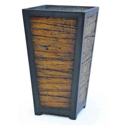 27 in. H Black Composite Wood/Metal Look Tapered Planter