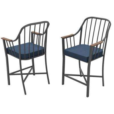 Bedford Farmhouse Metal Balcony Height Outdoor Dining Chair with Blue Cushions (2-Pack)
