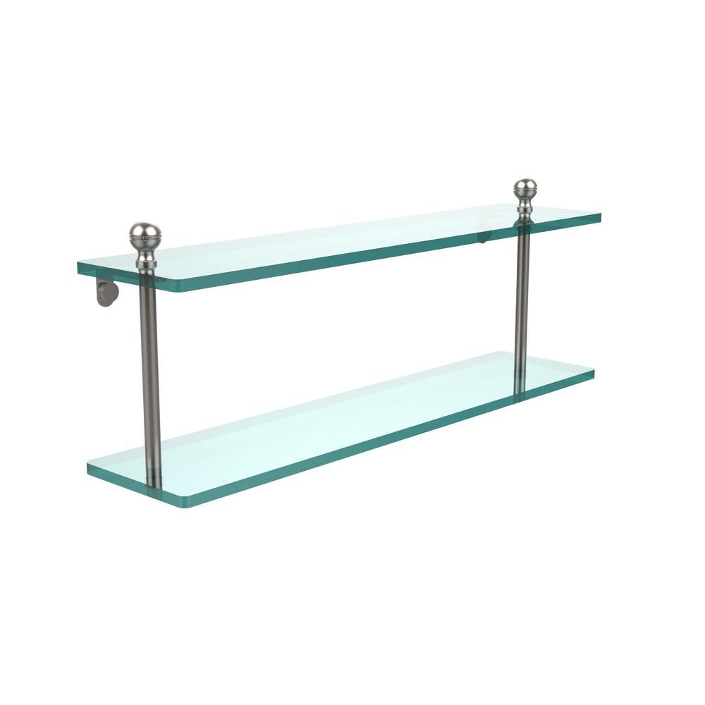 Mambo 22 in. L  x 8 in. H  x 5 in. W 2-Tier Clear Glass Bathroom Shelf in Satin Nickel