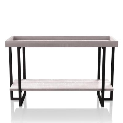 Triblisi 30.5 in. H Gray and Gun Metal Sofa Table
