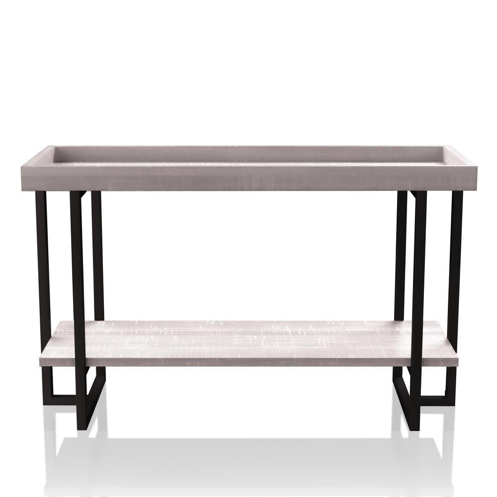 Triblisi 30.5 in. H Gray and Gun Metal Sofa Table