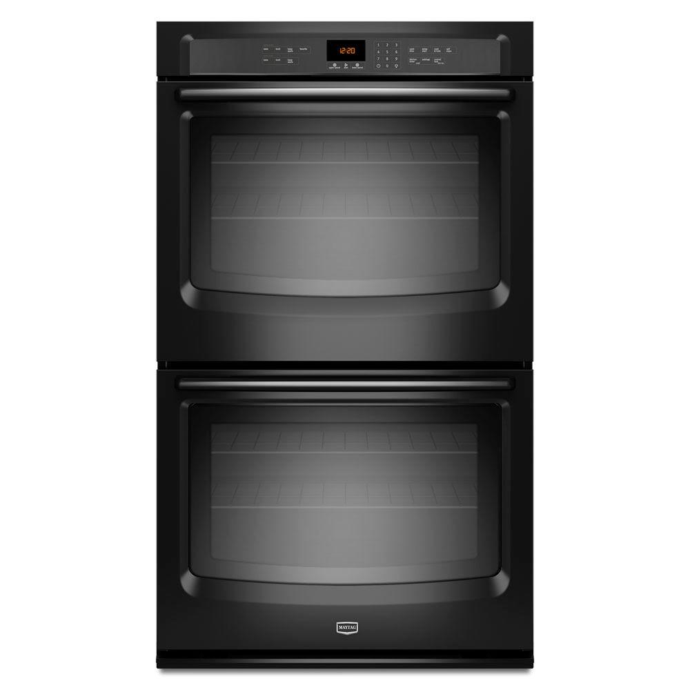 Maytag 30 in. Double Electric Wall Oven Self-Cleaning in Black