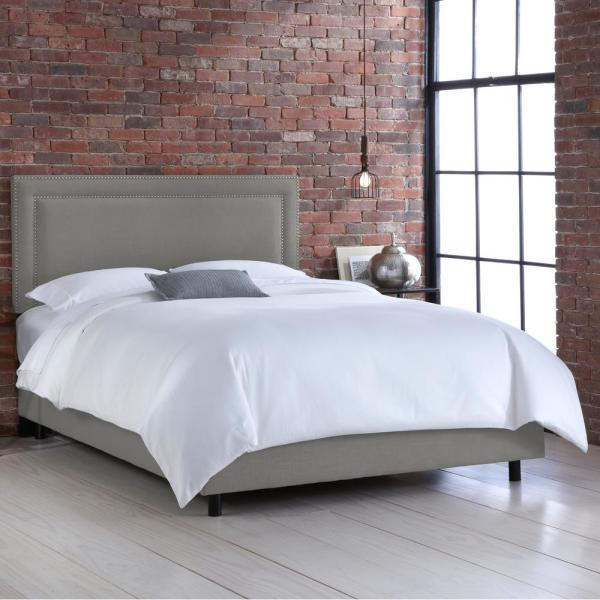 Destiny Linen Grey Twin Border Bed with Pewter Nail Buttons 290NBBEDPWLNNGR