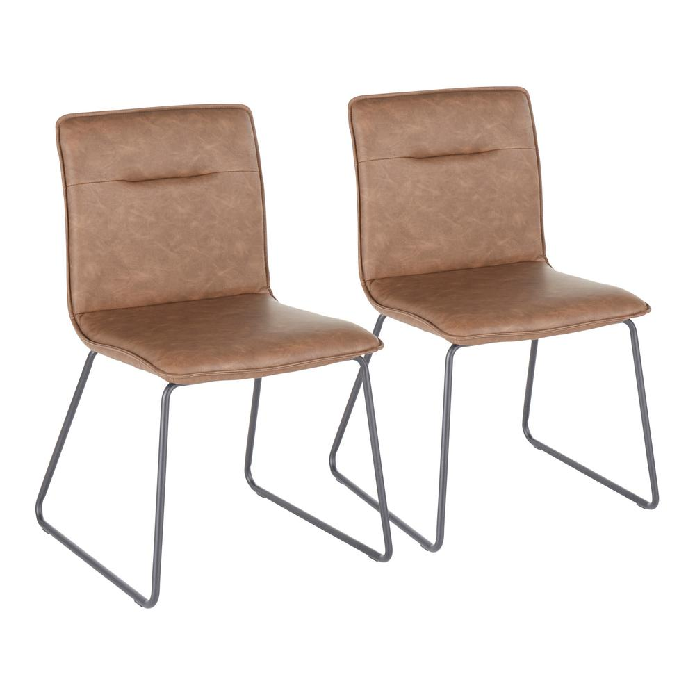 Casper Espresso Faux Leather Industrial Dining Chair (Set of 2)