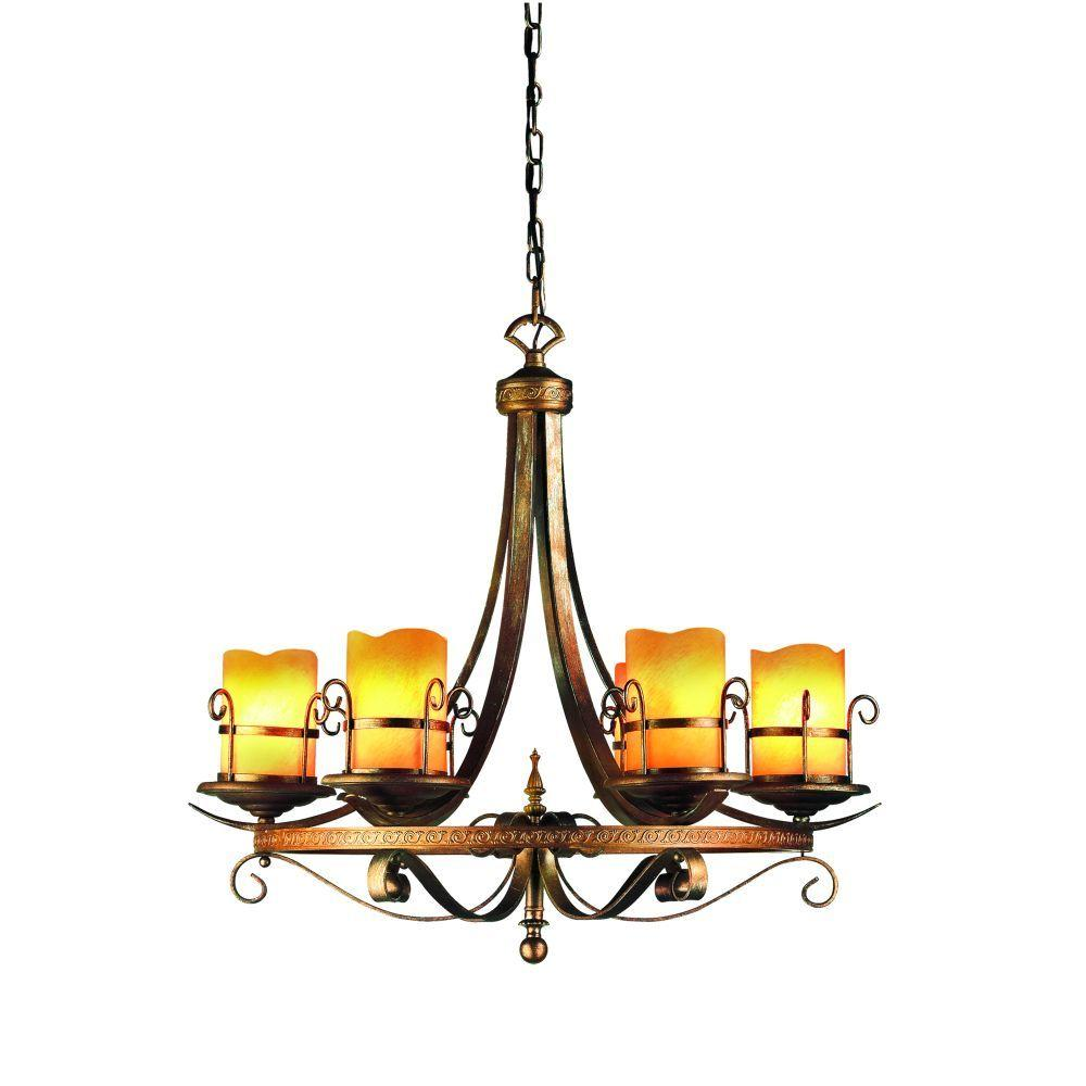 Eurofase Rustico Collection 6-Light 99 in. Antique Gold Chandelier-DISCONTINUED