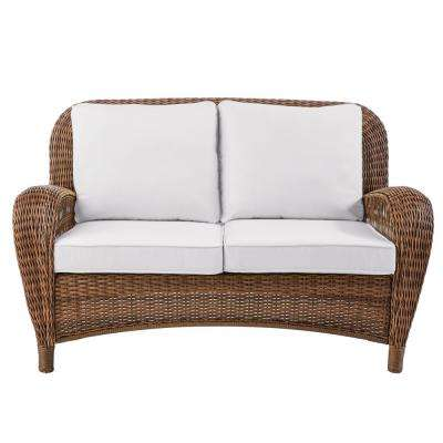 Beacon Park Brown Wicker Outdoor Patio Loveseat with Bare Cushions