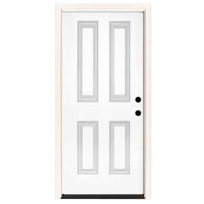 Premium 4-Panel Primed White Steel Prehung Front Door