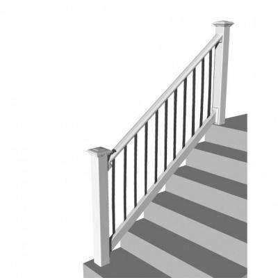 Original Rail PVC 8 ft. x 36 in. 32-38° Stair Rail Kit White with Black Round Balusters