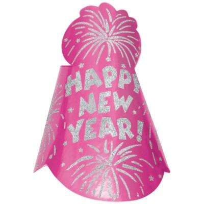 New Year's 9 in. Bright Pink Glitter Foil Cone Hat (12-Pack)
