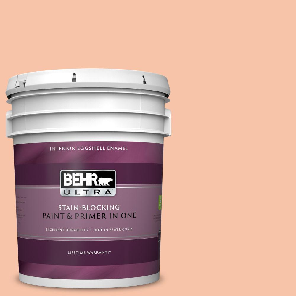 Behr Ultra 5 Gal 230c 3 Pink Beach Eggshell Enamel Interior Paint And Primer In One 275005 The Home Depot