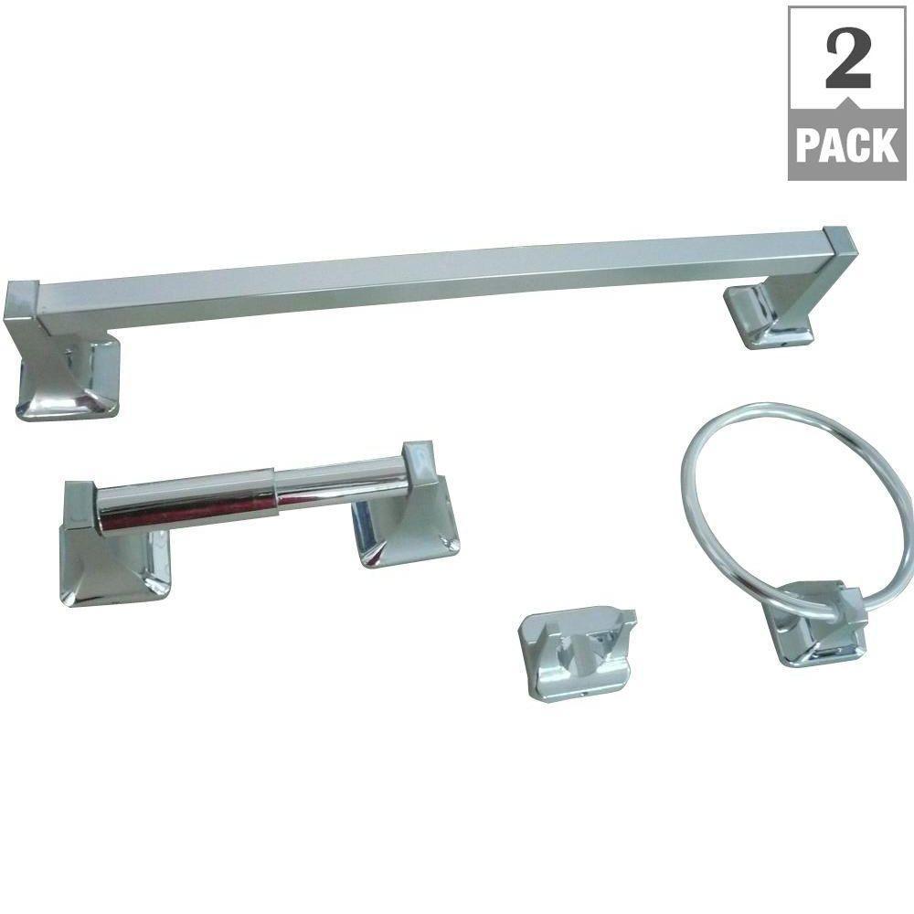 Glacier Bay Futura 4-Piece Bathroom Accessory Kit in Chrome (2-Pack)