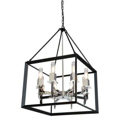 8-Light Black and Chrome Chandelier