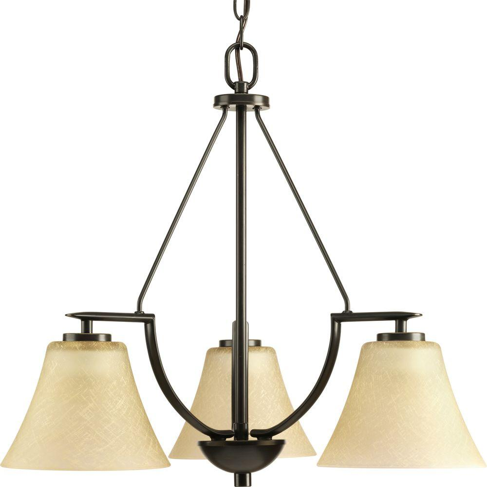 Bravo Collection 3-Light Antique Bronze Chandelier with Shade with Umber Linen