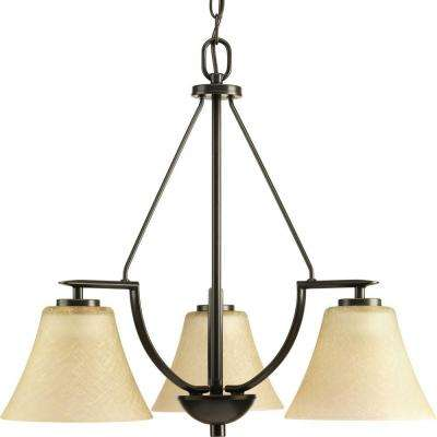Bravo Collection 3-Light Antique Bronze Chandelier with Umber Linen Glass Shade