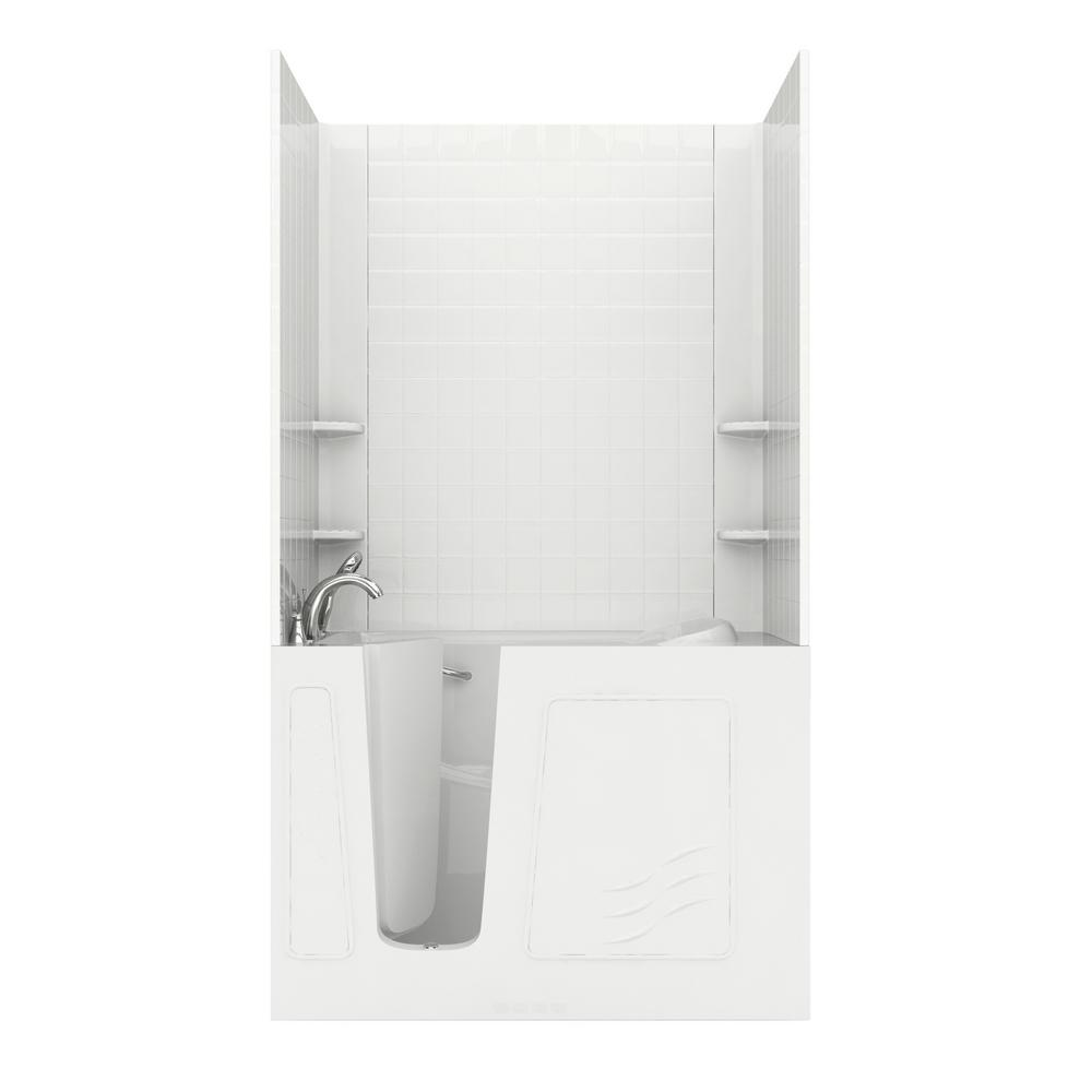 Universal Tubs Rampart 4.5 ft. Walk-in Air Bathtub with 4 in. Tile Easy Up Adhesive Wall Surround in White