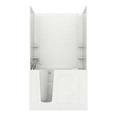 Rampart Nova Heated 4.5 ft. Walk-in Whirlpool and Air Bathtub with 4 in. Tile Easy Up Adhesive Wall Surround in White